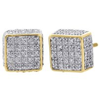 Jewelry For Less 10k Yellow Gold Real Diamond Stud 9mm 3d Cube Square Mens Pave Earrings 0.75 Ct.