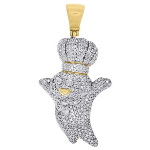 Jewelry For Less 10k Yellow Gold Round Diamond Doughboy Pendant 1.80 Mens Pave Charm 1.50 Ct.
