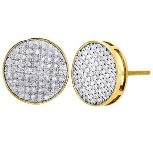 Jewelry For Less 10k Yellow Gold Round Diamond Flat Circle Pave Studs 11.75mm Earrings 0.75 Ct.