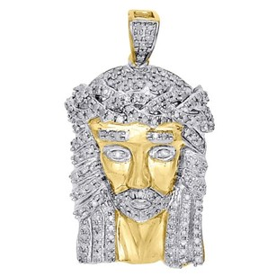 Jewelry For Less 10k Yellow Gold Round Diamond Mini Jesus Piece Pendant Mens Pave Charm 0.75 Ct.