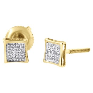 Jewelry For Less 10k Yellow Gold Round Diamond Pave Set Mini Kite Stud Earrings 0.05 Ct.