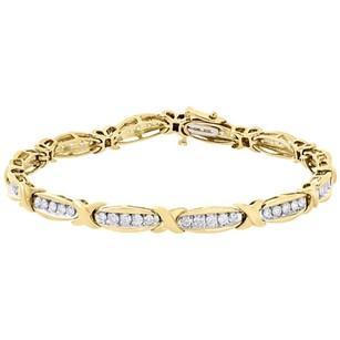 10k Yellow Gold Round Diamond X Link Tennis Bracelet Channel Set 7.4 1.94 Ct.