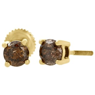 Other 10k Yellow Gold Solitaire Champagne Brown Diamond 4.9mm Round Stud Earrings 1 Ct