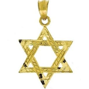 Jewelry For Less 10k Yellow Gold Star Of David Pendant 0.94 Charm