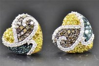 Jewelry For Less 1.24 Ct Blue Brown Yellow Diamond Heart Shape Studs 10k White Gold Earrings