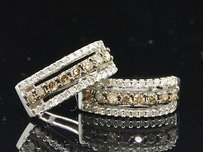 Jewelry For Less 14k Ladies White Gold .48ct Champagne Brown Diamond Hoops Huggies Earrings Studs