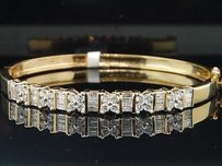 Jewelry For Less 14k Ladies Womens Yellow Gold Ct Baguette Round Cut Diamond Bangle Bracelet