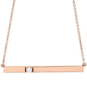 14k Rose Gold Rectangular Diamond Bar Pendant Necklace 16 Cable Chain 0.10 Ct.