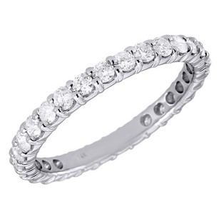 Jewelry For Less 14k White Gold Diamond Eternity Wedding Engagement Band Ring Prong Set 1 Ct.