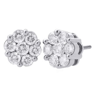Jewelry For Less 14k White Gold Round Diamond Flower Stud 8.90mm Circle Ladies Earrings 1.50 Ct.