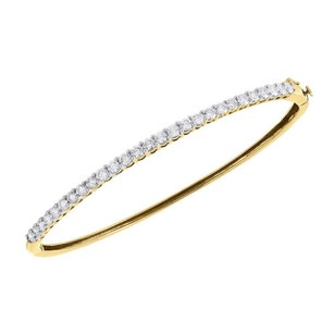 14k Yellow Gold Diamond 27 Stones Traditional Ladies Bangle Bracelet 7.5 Ct.