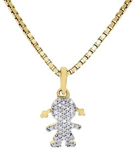 14k Yellow Gold Genuine Diamond Little Girl Pendant Ladies Family Charm 0.15 Ct.