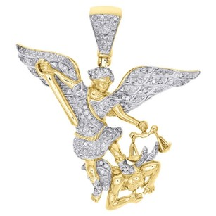 Jewelry For Less 14k Yellow Gold Genuine Diamond Saint Michael Pendant Mens Pave Charm 0.64 Ct.