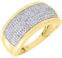 Diamond,Wedding,Band,Mens,10k,Yellow,Gold,Round,Cut,Pave,Engagement,Ring,.60,Ct