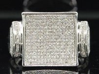 Mens White Gold Finish 0.59 Ct. Designer Square Diamond Pinky Ring Engagement
