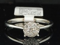 Ladies 14k White Gold .26 Ct. Round Cut Diamond Engagement Ring Bridal Set