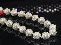 Other 3d Beaded Diamond Chain Mens .925 Sterling Silver Macrame Necklace 15.78 Tcw.