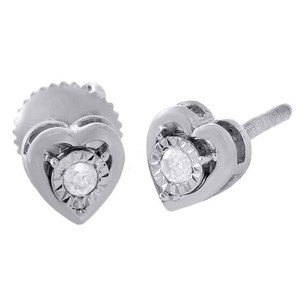 Jewelry For Less 925 Sterling Silver Diamond Heart Earrings Ladies 5.50mm Bezel Stud 115 Ct.