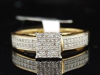 Jewelry For Less .925 Sterling Silver Round Cut Pave Diamond Square Design Promise Ring 14 Ct.