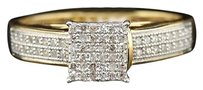 .925 Sterling Silver Round Cut Pave Diamond Square Design Promise Ring 14 Ct.