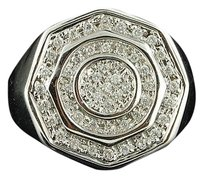Diamond,Pinky,Ring,10k,White,Gold,Mens,Circular,Fashion,Statement,Band,0.50,Ct.
