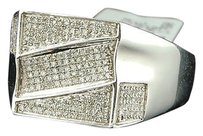 Diamond,Pinky,Ring,Mens,10k,White,Gold,Designer,Fashion,Round,Pave,Band,12,Ct.