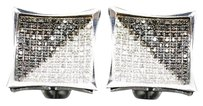Black Diamond Earrings 10k White Gold Round Pave Square Design Studs 1 Tcw.