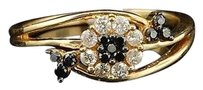 Other Black Diamond Flower Fashion Ring Right Hand 14k Yellow Gold Round Cut 13 Ct