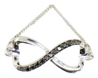 Black Diamond Infinity Pendant .925 Sterling Silver .10 Ct Heart Necklace
