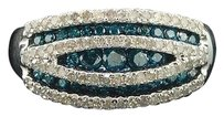 Other Blue Diamond Fashion Wedding Band 10k White Gold Cocktail Ring Womens 0.70 Ct.