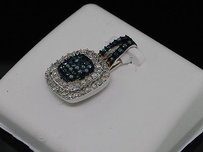 Jewelry For Less Blue Diamond Square Pendant Ladies 10k White Gold Round Pave Charm 12 Tcw.