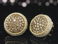 Jewelry For Less Brown Diamond Earrings Ladies 10k Yellow Gold Round 3d Pave Studs 1.30 Tcw.