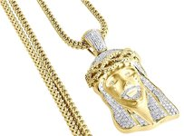 Diamond,Jesus,Face,Brushed,Finish,Pendant,Gold,Charm,W,Franco,Chain,1.60,Ct.