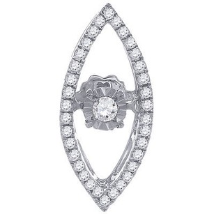 Jewelry For Less Dancing Diamond Marquise Design Slide Pendant 10k White Gold W Chain 0.22 Tcw.