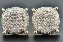 Jewelry For Less Diamond 3d Circle Earrings 10k Yellow Gold Pave Round Cut 0.62 Ct Studs