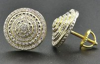 Diamond 3d Earrings .925 Sterling Silver Yellow Finish Pave Circle Studs 12 Ct.