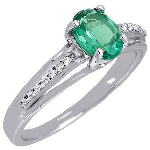 Diamond .925 Sterling Silver Created Emerald Oval Cocktail Ring 0.57 Ct.