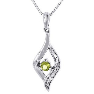 Jewelry For Less Diamond .925 Sterling Silver Created Peridot Pendant With Chain Necklace 0.21 Ct
