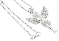 Other Diamond Angel Pendant .925 Sterling Silver With 2mm Moon-cut Bead Chain 0.25 Ct.