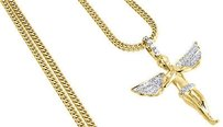 Jewelry For Less Diamond Angel Pendant Mens 10k Yellow Gold 1.69 In Charm W Franco Chain .55 Ct.