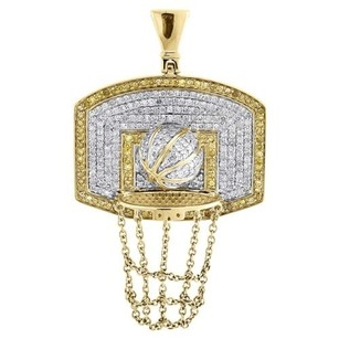 Jewelry For Less Diamond Basketball Pendant Mens 10k Yellow Gold Round Pave Hoop Charm 1.20 Tcw.