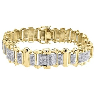Diamond Bracelet Mens 10k Yellow Gold Round Cut Pave Designer Link 2.60 Tcw.