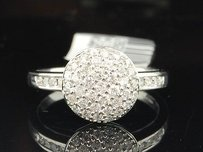 Jewelry For Less Diamond Cocktail Ring Ladies 14k White Gold Round Circle Fashion Band 12 Tcw.