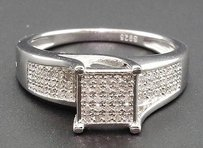 Jewelry For Less Diamond Fashion Engagement Ring Sterling Silver White Finish Micro Pave 14 Ct.