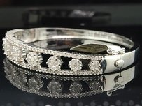 Diamond Flower Bangle Ladies 14k White Gold Round Bracelet 2.40 Tcw.