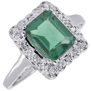 Jewelry For Less Diamond Green Emerald 10k White Gold Created Gemstone Cocktail Ring 1.81 Tcw.