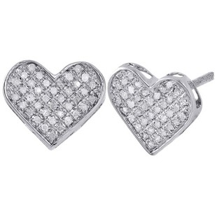 Diamond Heart Earrings Ladies Pave Studs 12.75mm In Sterling Silver 0.25 Ct.