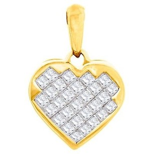 Jewelry For Less Diamond Heart Shaped Pendant Ladies 14k Yellow Gold Princess Cut Charm 0.42 Ct.
