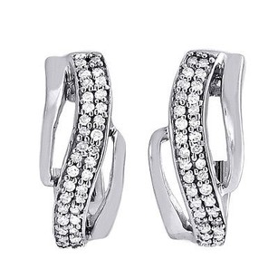 Diamond Hoop Earrings 10k White Gold Round Cut Pave Swivel Huggie 14 Ct.