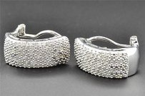 Jewelry For Less Diamond Hoops Huggies .925 Sterling Silver Ladies Round Cut Earrings 1.00 Ct